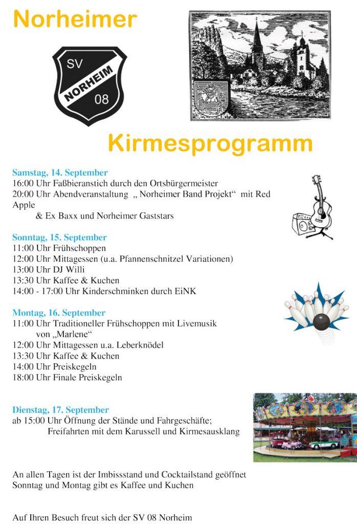 Das Kirmesprogramm 2019